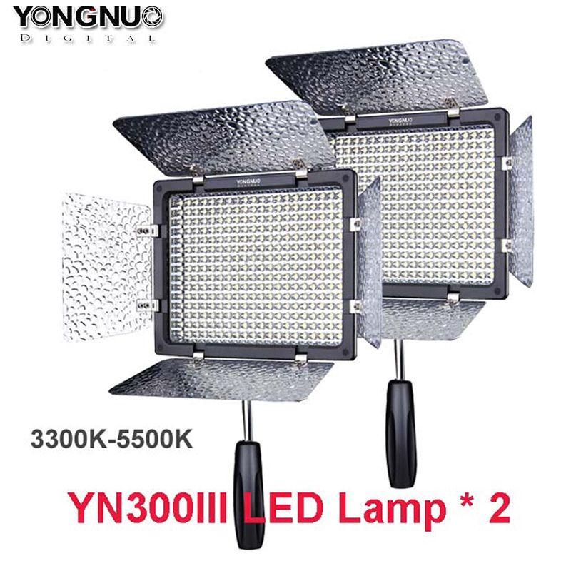 2pcs Yongnuo YN300 III YN-300 lIl 3200k-5500K CRI95+Pro LED Video Light w/ Remote Control, Support AC Power Adapter & APP Remote