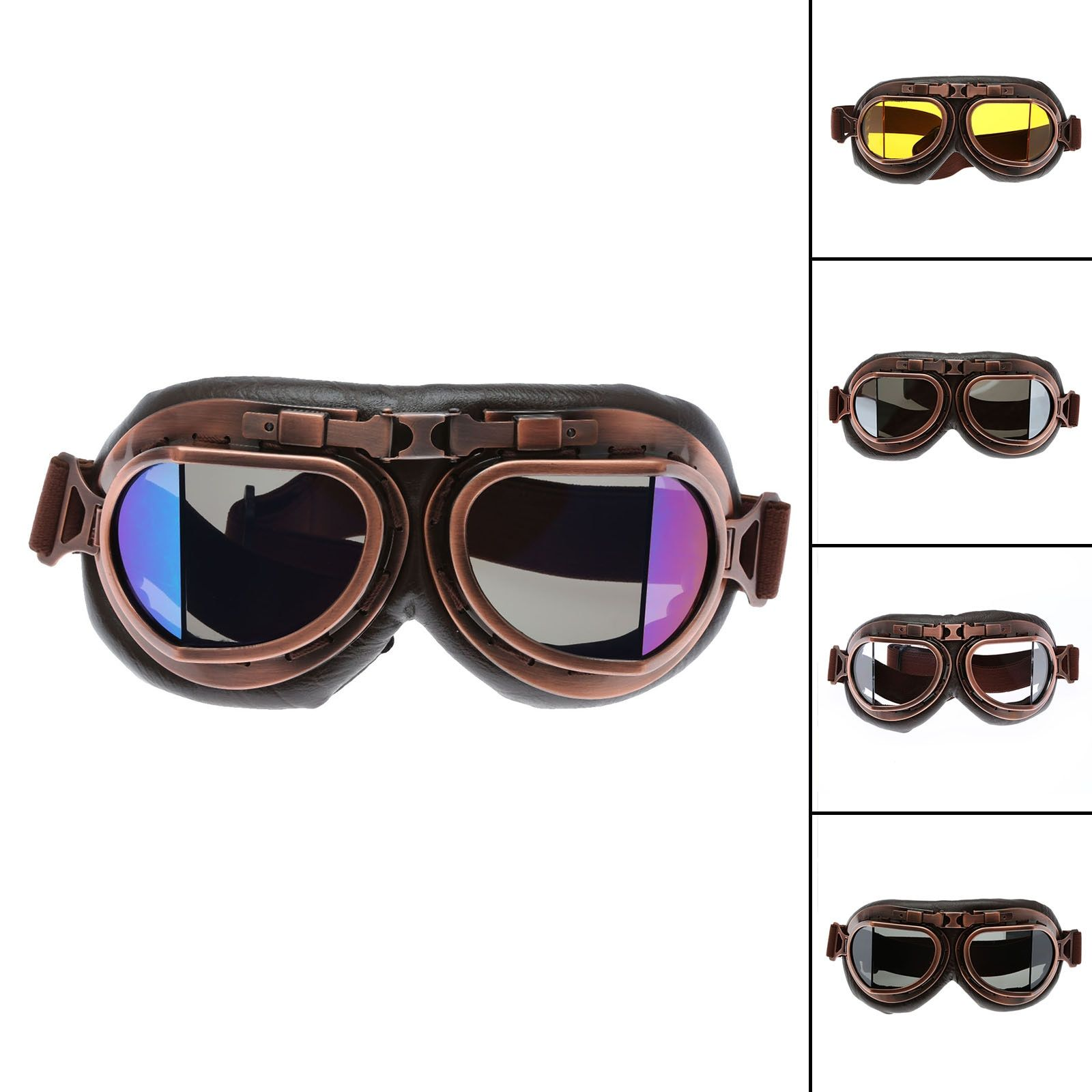 <font><b>Motorcycle</b></font> Goggles Glasses Vintage Motocross Classic Goggles Retro Aviator Pilot Cruiser Steampunk ATV Bike UV Protection Copper