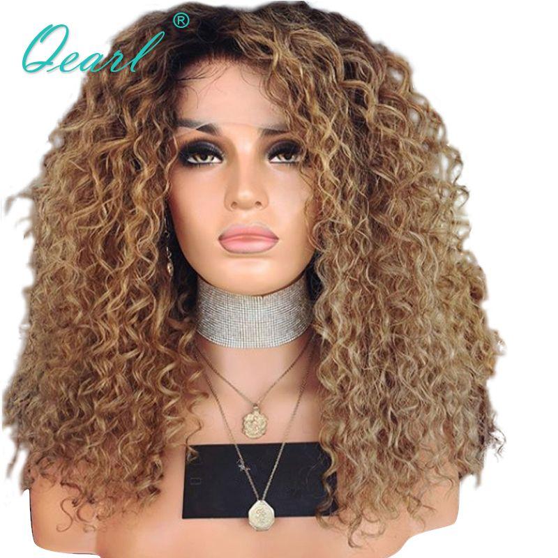 Glueless Menschenhaar Spitze Front Perücken Für Frauen Verworrene Lockige Afro Brasilianische Remy Haar Ombre Farbe mit dunklen Wurzeln 13x4 Qearl