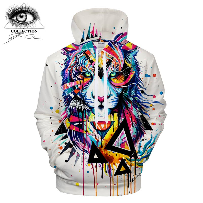 Shattered Tiger by Pixie cold Art Hoodies Men Sweatshirts 2018 Mens Clothing Brand Tracksuit Streetwear Drop Ship ZOOTOP BEAR