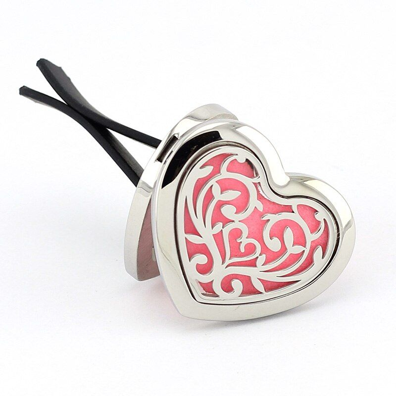 Wholesale Magnetics Heart Shape Car Perfume Locket 316 Stainless Steel Car Aromatherapy Locket Essential Oil Diffuser Lockets