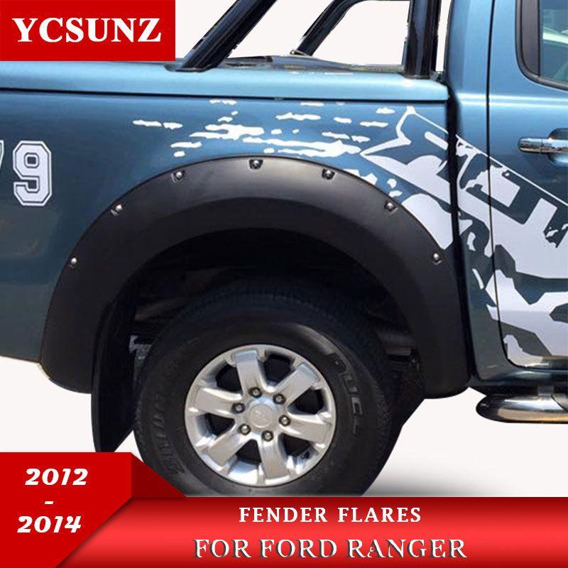 Matte Schwarz Farbe Rad Bögen Fender Flares Kotflügel 9 Inch Mit Muttern Offroad Für Ford Ranger T6 2012 2013 2014