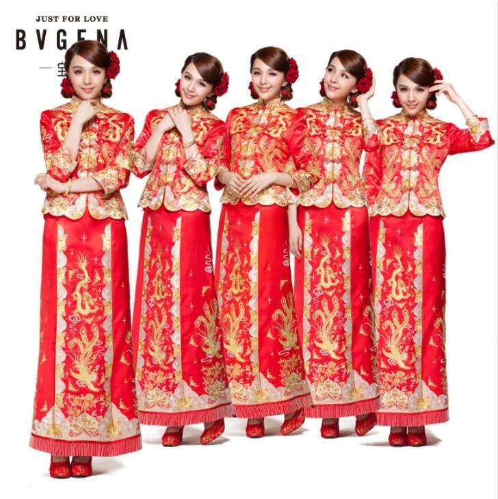 Dragon robe robe de mariage de mariée de style chinois costume Phoenix cheongsam robe de soirée spectacle vêtements slim Style pour le Mariage