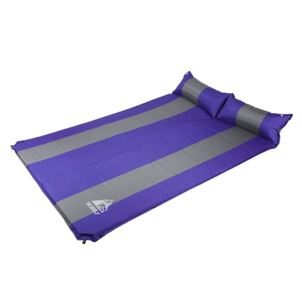 Hewolf 2 Persons Automatic Inflatable Air Mattress Cushion Outdoor Hiking Camping Mat Thickening Self-Inflating Sleeping Pad+bag