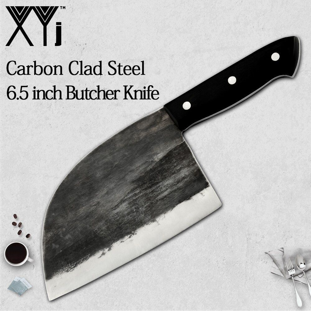 XYj Full Tang Chef Butcher Knife Handmade Forged High-carbon Clad Steel Kitchen Knives Cleaver Filleting Slicing Broad knife