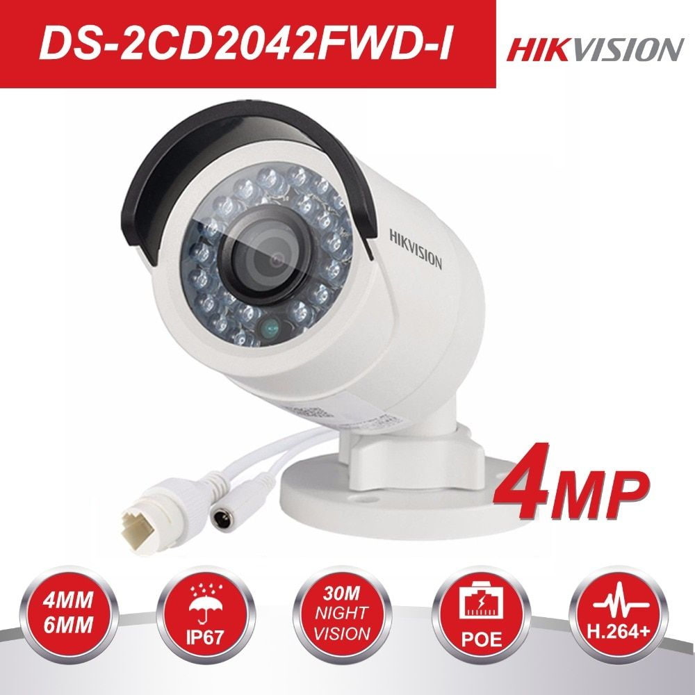 HIKVISION CCTV IP Camera DS-2CD2042WD-I 4MP <font><b>Bullet</b></font> Security IP Camera with POE Network camera Security Cameras Surveillance