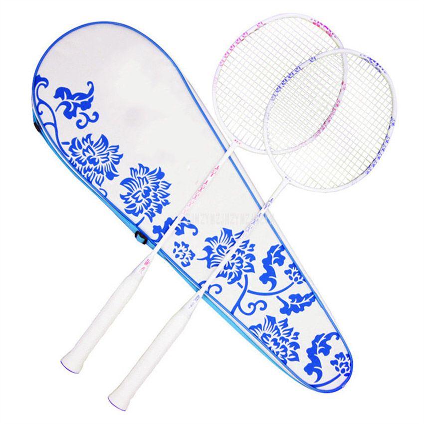 Leichte Blau und Weiß Porzellan Badminton Schläger Schläger Carbon Faser Professionelle Badminton Schläger Mit Trage Tasche