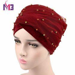 Nouvelles Femmes De Mode de Velours Long Turban Bandeau Maille Velours Double Couche Or Perlée Musulman Hijab Écharpe Turbante Cravate Headwrap