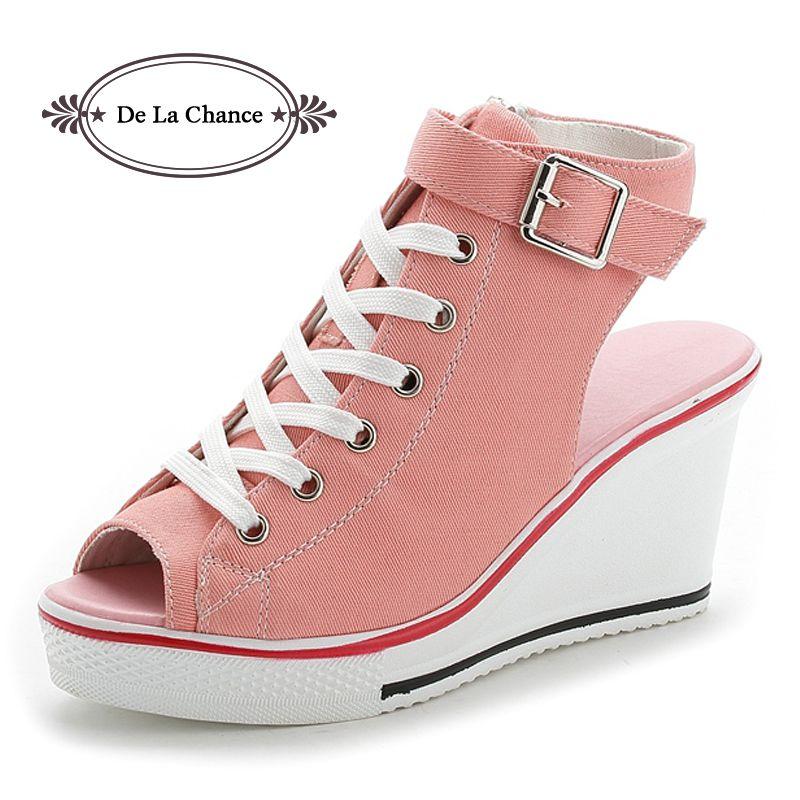 Nouveau dames plate-forme sandales d'été bout ouvert sandales chaussures pour femmes pente avec plate-forme sandales à talons compensés rose noir blanc rouge