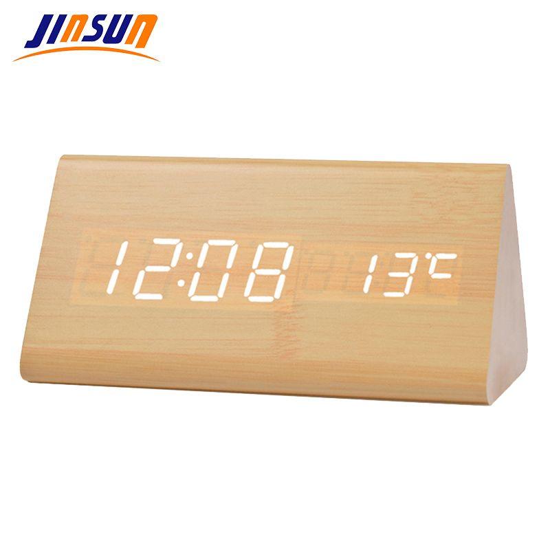 JINSUN lumière réveil numérique maison thermomètre électronique LED en bois moderne Table bureau horloge Triangle reloj despertador