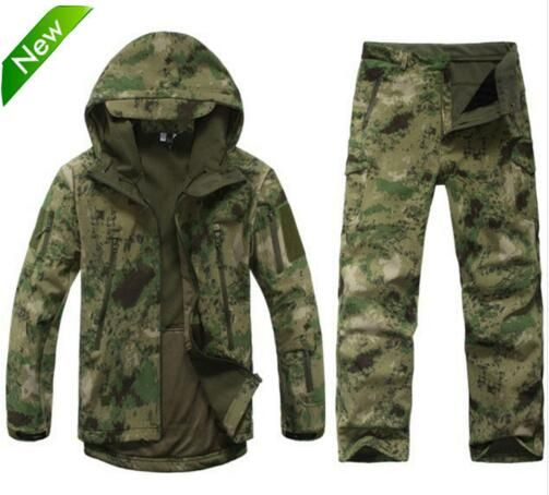 TAD Tactical Gear Soft Shell Camouflage Outdoors Jacket Set Men Army Casual Waterproof Hunter Warm Clothes Military Hike Jacket