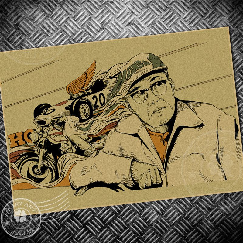 Ride motorcycle race vintage poster retro painting bar cafe wall art sticker kraft paper print picture classic home decoration