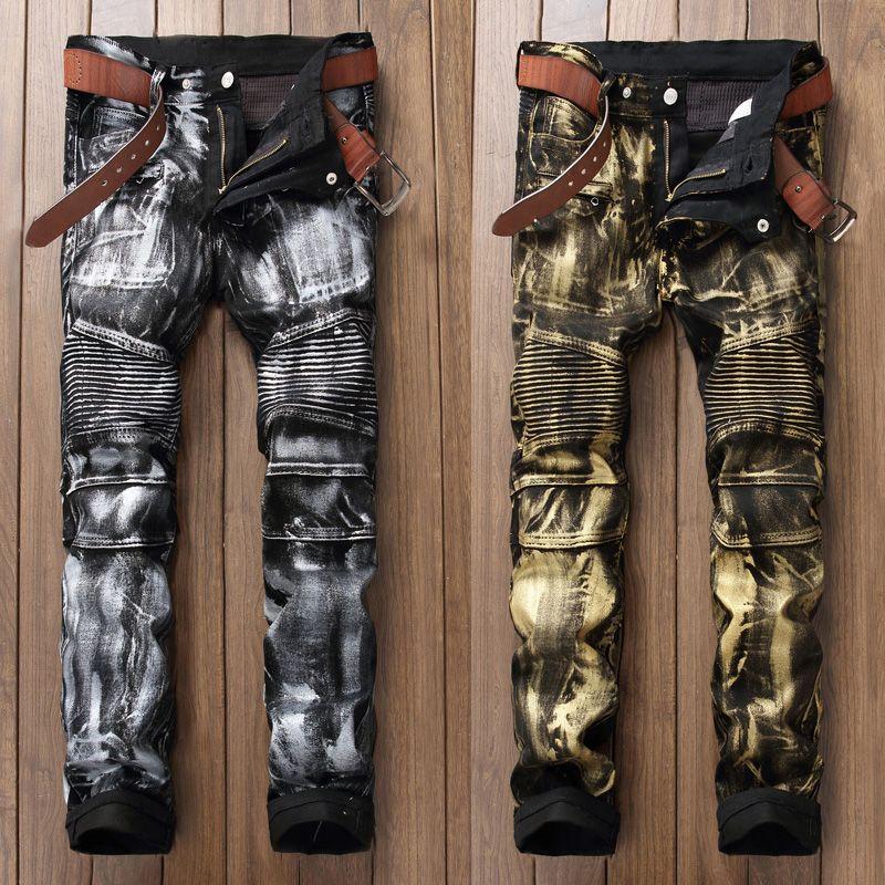 Fashion Streetwear Men Jeans Punk Style Night Club Golden Silver Paint Printed Jeans Men Slim Fit Brand Biker Jeans Long Pants