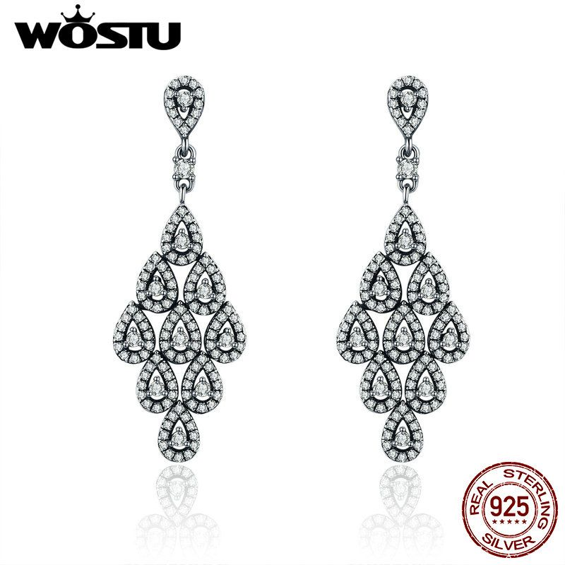 WOSTU 2018 New Genuine 925 Sterling Silver Cascading Glamour Drop Earrings For Women Wedding Party S925 Silver Jewelry XCHS516