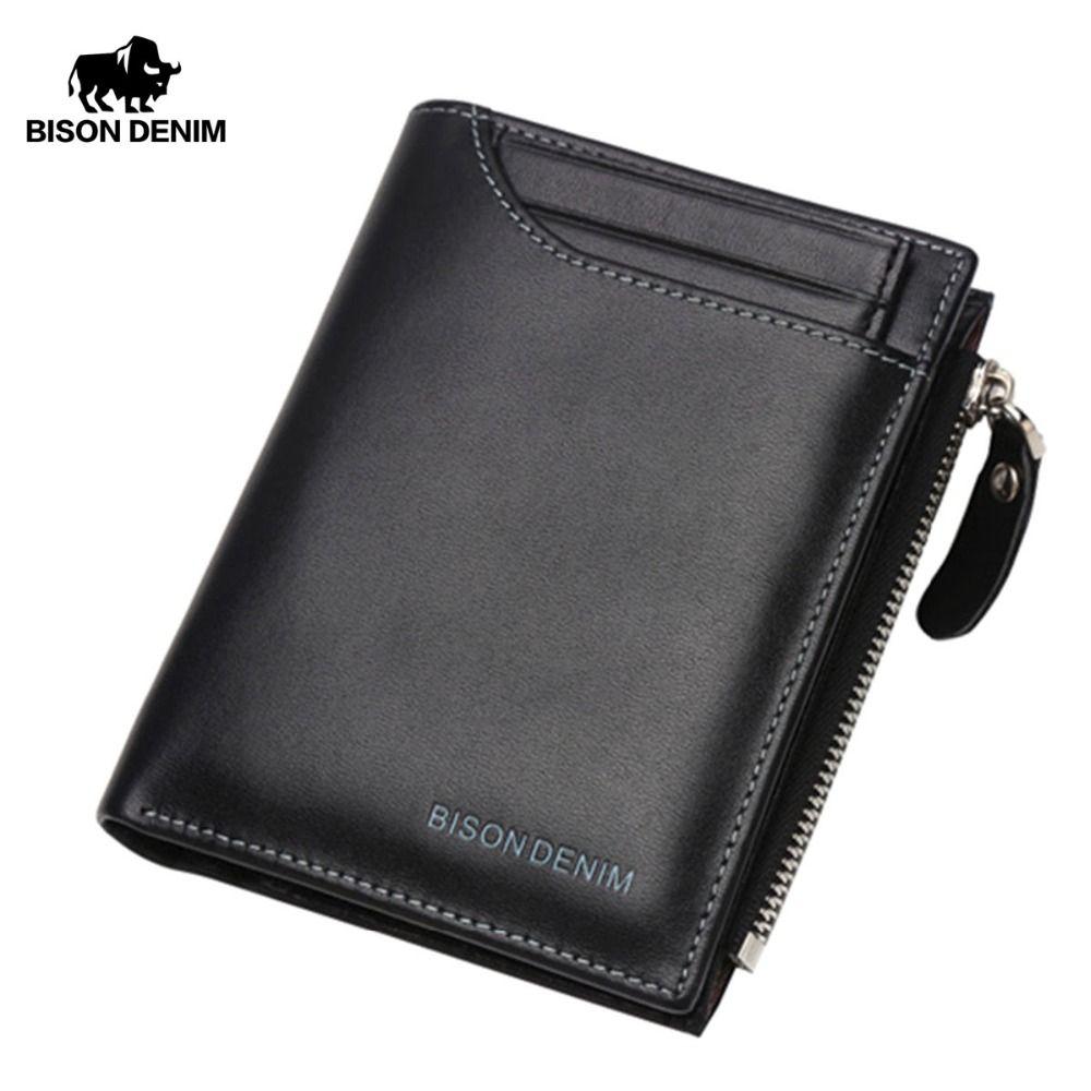 BISON DENIM Genuine Leather Wallet Men Purse Male Bifold Slim Wallet Card Holder Men Wallet With Coin Pocket Black Wallets N4370