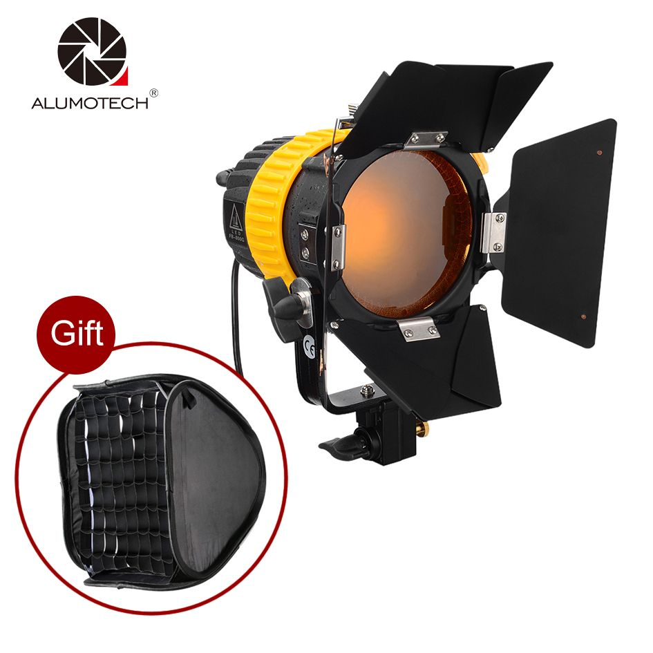 Alumotech Portable 5500/3200K 80W LED Spotlight Continuous Light+ V-mount+Bowen Mount Softbox For Studio Photography Lighting