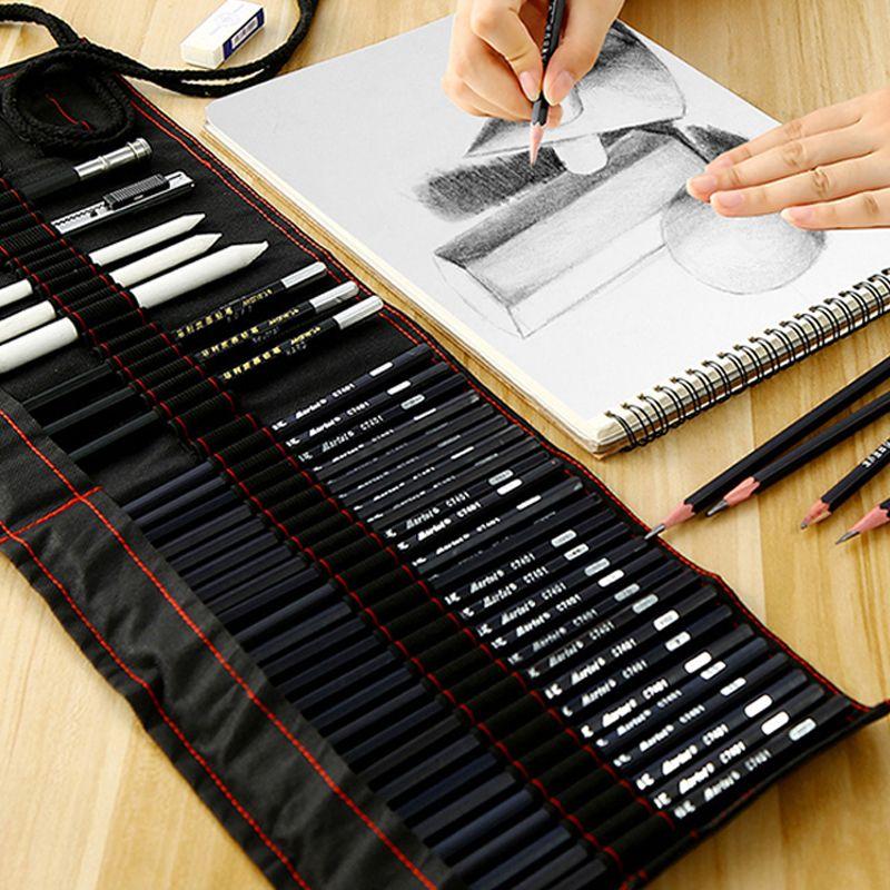 Ensemble de crayons à croquis de Marie débutant 2b4b outils de peinture pour adultes stylo à croquis stylo enfants sac à dessin fournitures d'art
