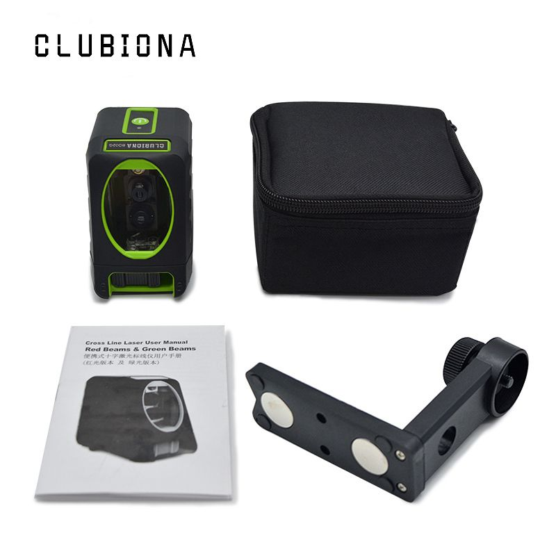 Clubiona self-leveling Horizontal and Vertical qualified 2 Green cross lines laser level with tilt function and bubber covered