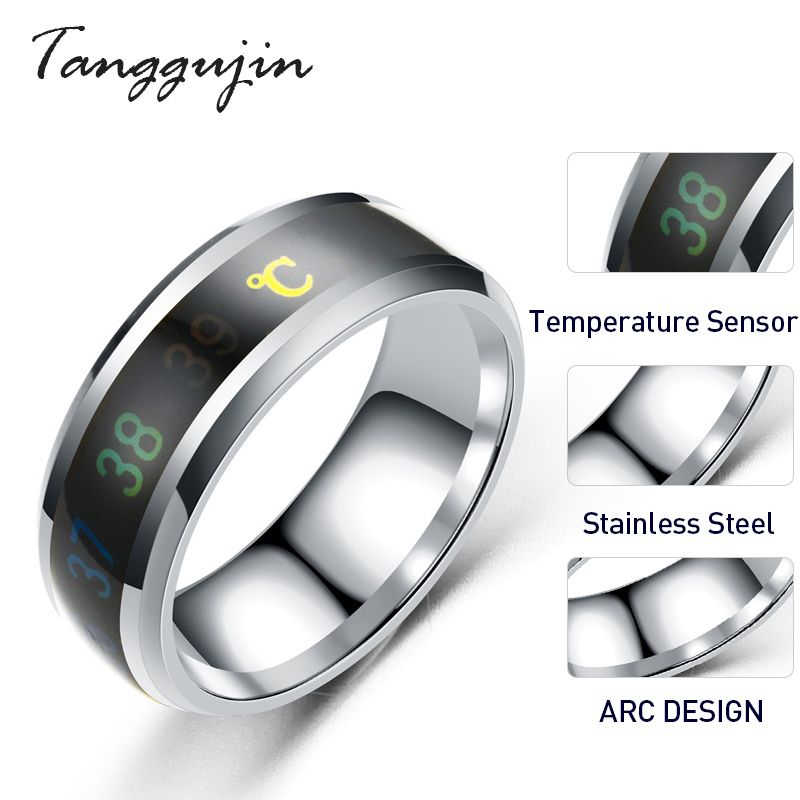 Tanggujin Ring For Men Stainless Steel Intelligent Temperature Sensing Couple Rings For Women Lovers Wedding Band Ring Jewelry