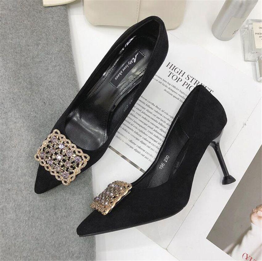 ZOUDKY 2018 Autumn New korean style high heel Sharp head fashion Shallow Metal Rhinestone Single shoes