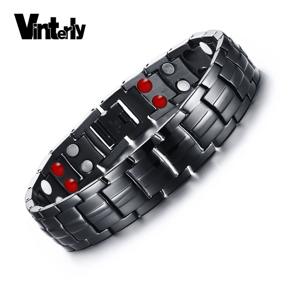 Vinterly Double Row Black Men Health Germanium Infrared Negative Ion Magnetic Bracelet Stainless Steel Bracelets For Man