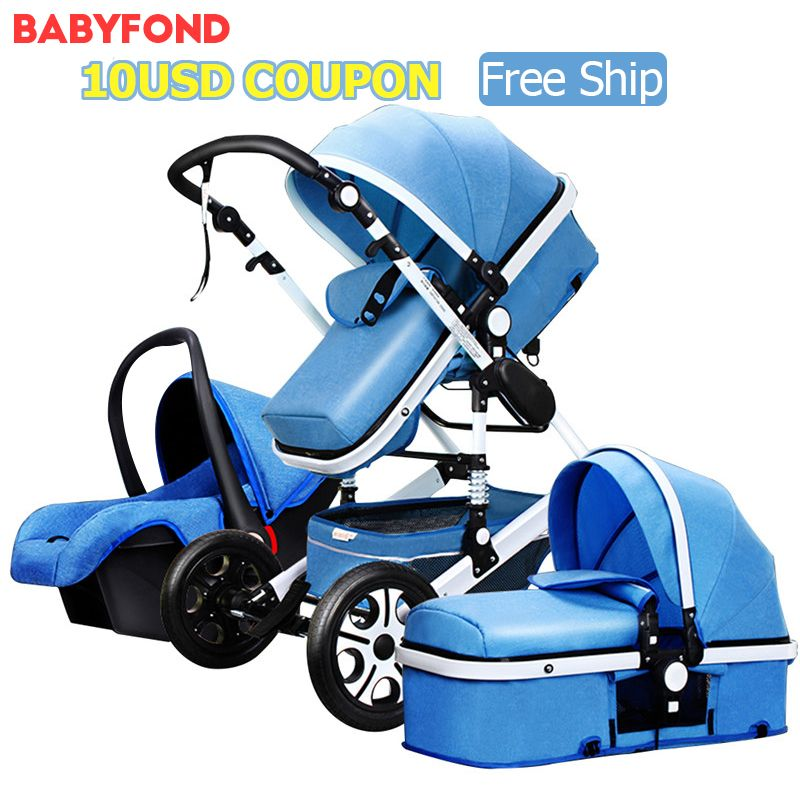 Free ship ! 2018 new colors brand baby stroller 3 in 1 baby car send send car seat folding baby car bb carriage