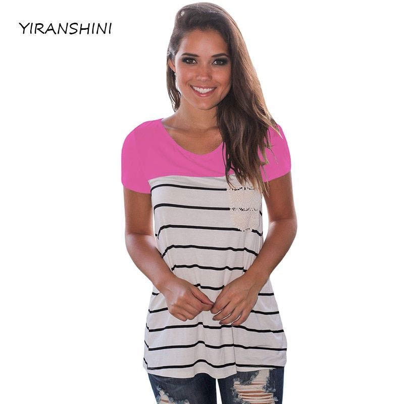 YIRANSHINI 2018 New Rose Striped Color Summer Women Fashion Short Sleeve O-Round Neck Floral Lady Printed T-shirt LC250067-1