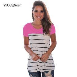 YIRANSHINI 2018 Nouveau Rose Rayé Couleur D'été Femmes De Mode À Manches Courtes O-Col Rond Floral Dame Imprimé T-shirt LC250067-1