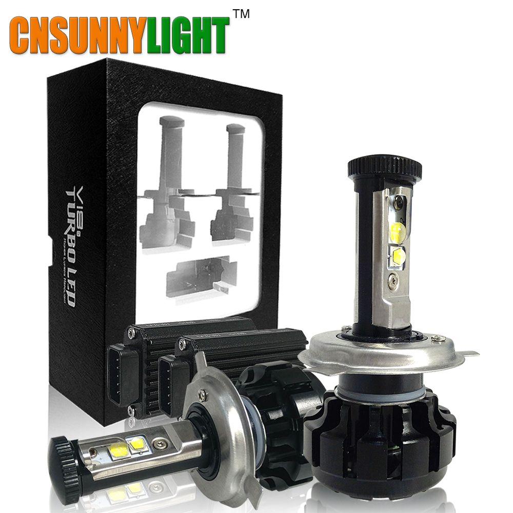 CNSUNNYLIGHT Super Bright Motorbike LED Headlight Kit H7 PX26D H4 P43T PX43T HS1 H6-3 H11/H8 White 6000K Turbo Replacement Bulbs