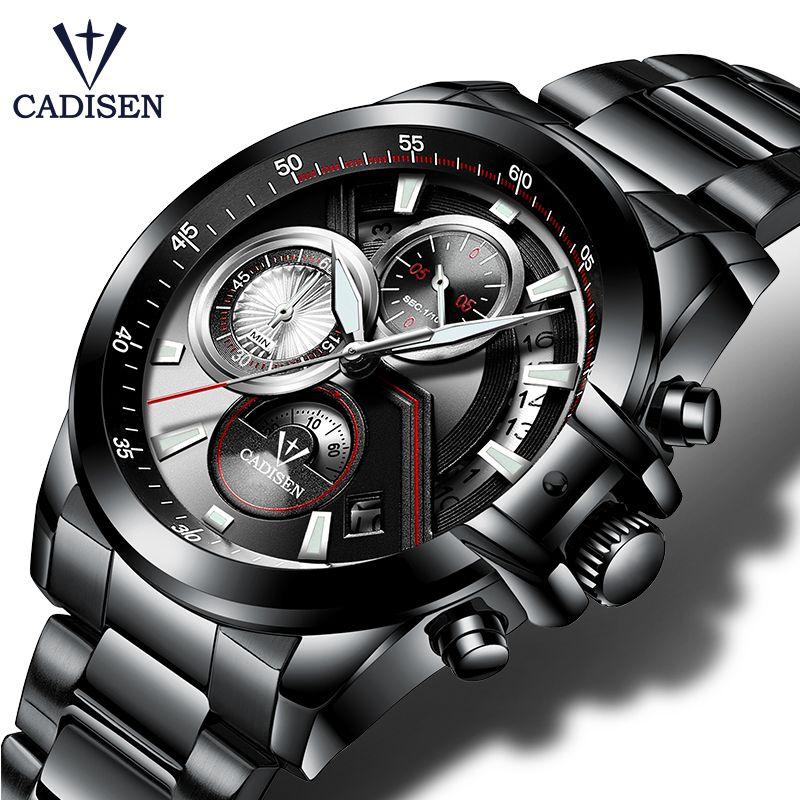 CADISEN Hot Mens Watches Military Army Brand Luxury Sports Casual Waterproof Mens Watch Quartz Stainless Steel Man Wristwatch