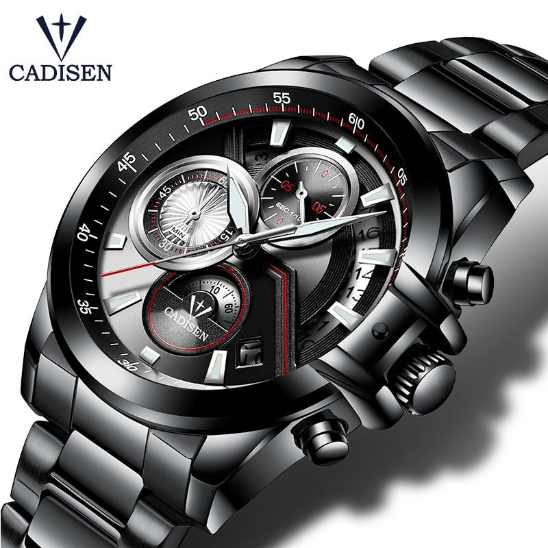 CADISEN Hot Mens Watches Military Army Brand Luxury Sports Casual Waterproof Mens Watch <font><b>Quartz</b></font> Stainless Steel Man Wristwatch
