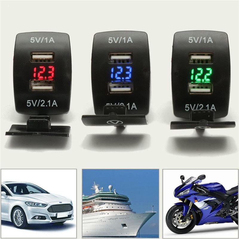 Universal Car Motorcycle Waterproof 2 Port Dual USB Power Charger For iPhone/Samsung 3.1A Auto Charger Adapter LED Voltmeter