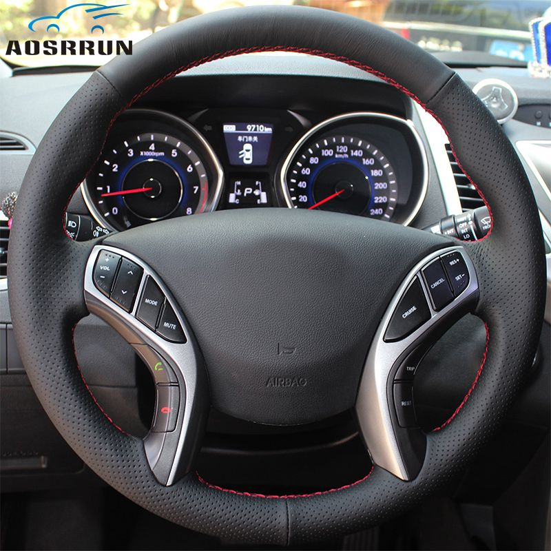 Car-styling Leather Hand-stitched Car Steering Wheel Covers Car accessories For Hyundai Elantra 2011-2016 Avante i30 2012-2016