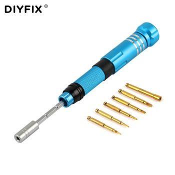 DIYFIX 6 in 1 Magnetic Precision Screwdriver Bits Kit Adjustable Extension Rod for iPhone Disassemble Repair Tool Set