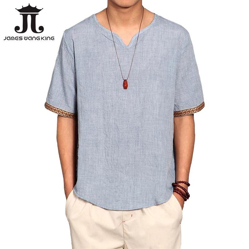 Été lin chemise hommes Culture chinoise à manches courtes chemise hauts amples hots marque mince respirant doux chemises Plus asiatique taille 5XL