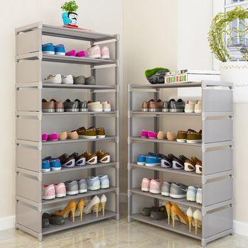 Многоуровневая стойка для обуви нетканых материалов стальная труба легко установить домашний шкаф для обуви Органайзер для хранения на по...
