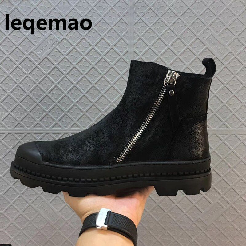 Fashion Winter Man High Quality Army Combat Style Comfortable Fur Warm Sneaker Genuine Leather Men Black Shoes Brand Ankle Boots