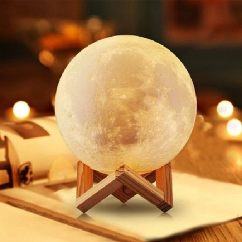 Rechargeable 3D Print Moon Lamp 2 Color <font><b>Change</b></font> Touch Switch Bedroom Bookcase Night Light Home Decor Creative Gift