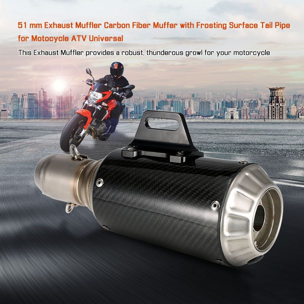 Motorcycle Exhaust 51 mm Muffler Carbon Fiber Muffer with Frosting Surface Tail Pipe Universal for Akrapovic exhaust motorcycle
