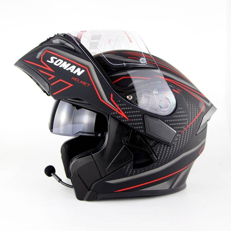 Motorcycle Double Lens Helmets Moto Built-in Bluetooth Helmet Flip up Motor bike Capacete Casco DOT Approval SOMAN 955 BT