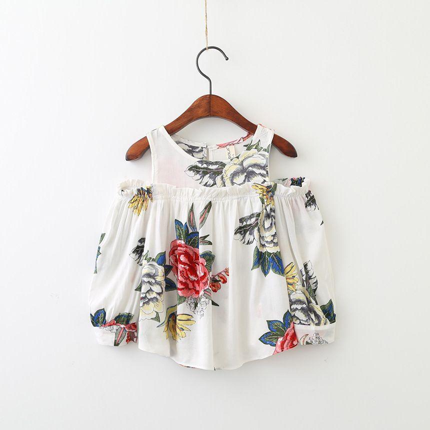 Школьная блузка для девочек Рубашки для мальчиков винтажные цветочные дети хлопок shoulderless Блузки для малышек дышащие детские топы От 2 до 7 л...