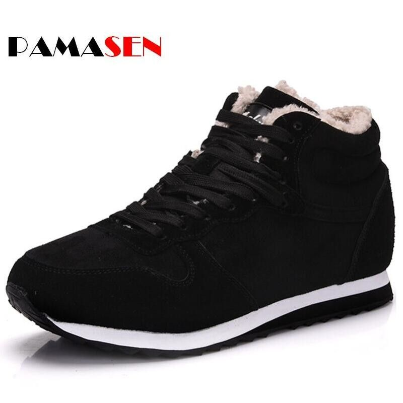 PAMASEN Casual Unisex Cheap Winter Shoes Keep Warm Men Plush Couple Snow Shoes Fashion Men's Female Casual Shoes 36-48