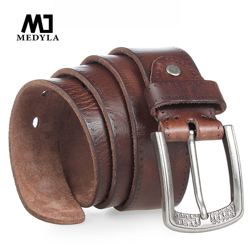 MEDYLA Men <font><b>Belt</b></font> 100% Cowhide Alloy Pin Buckle Blue Color Personality Choice Cowhide Male Strap Jeans Waistband Gift