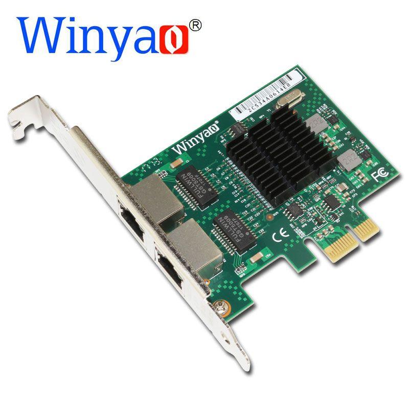 Winyao E575T2 Double port PCI-E X1 Gigabit Ethernet Carte Réseau 10/100/1000 Mbps Adaptateur LAN Contrôleur filaire 82575 E1G42ET