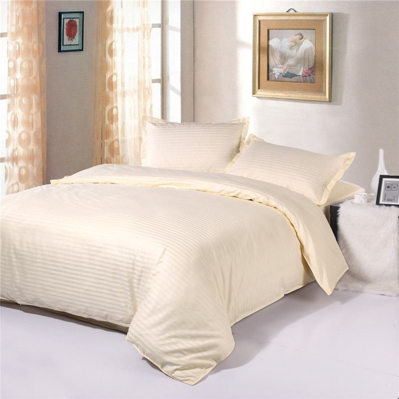 100% cotton 1cm satin Cream-colored Hotel Quality Bedding sets,Duvet cover sets,luxury bedding twin Full queen king