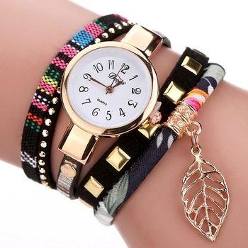 Duoya 2017 Fashion Ladies Watches Women Luxury Leaf Fabric Gold Wrist For Women Bracelet Vintage Sport Dress Clock Watch Gift