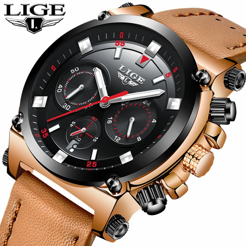 LIGE Watch Men's Fashion Sports Quartz Big Dial Clock Leather Mens Watches Top Brand Luxury Waterproof Watch Relogio Masculino