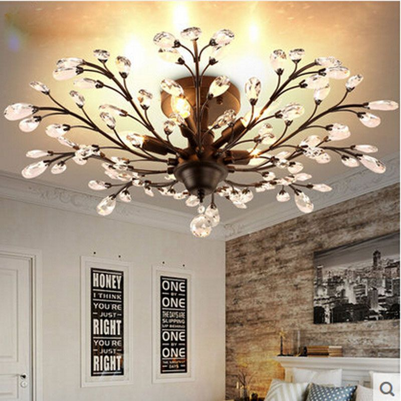 American Crystal Ceiling Lamp European Luxury Retro Bedroom Living Room Dining Room Iron Chandelier LED E14 Lighting hang lamps