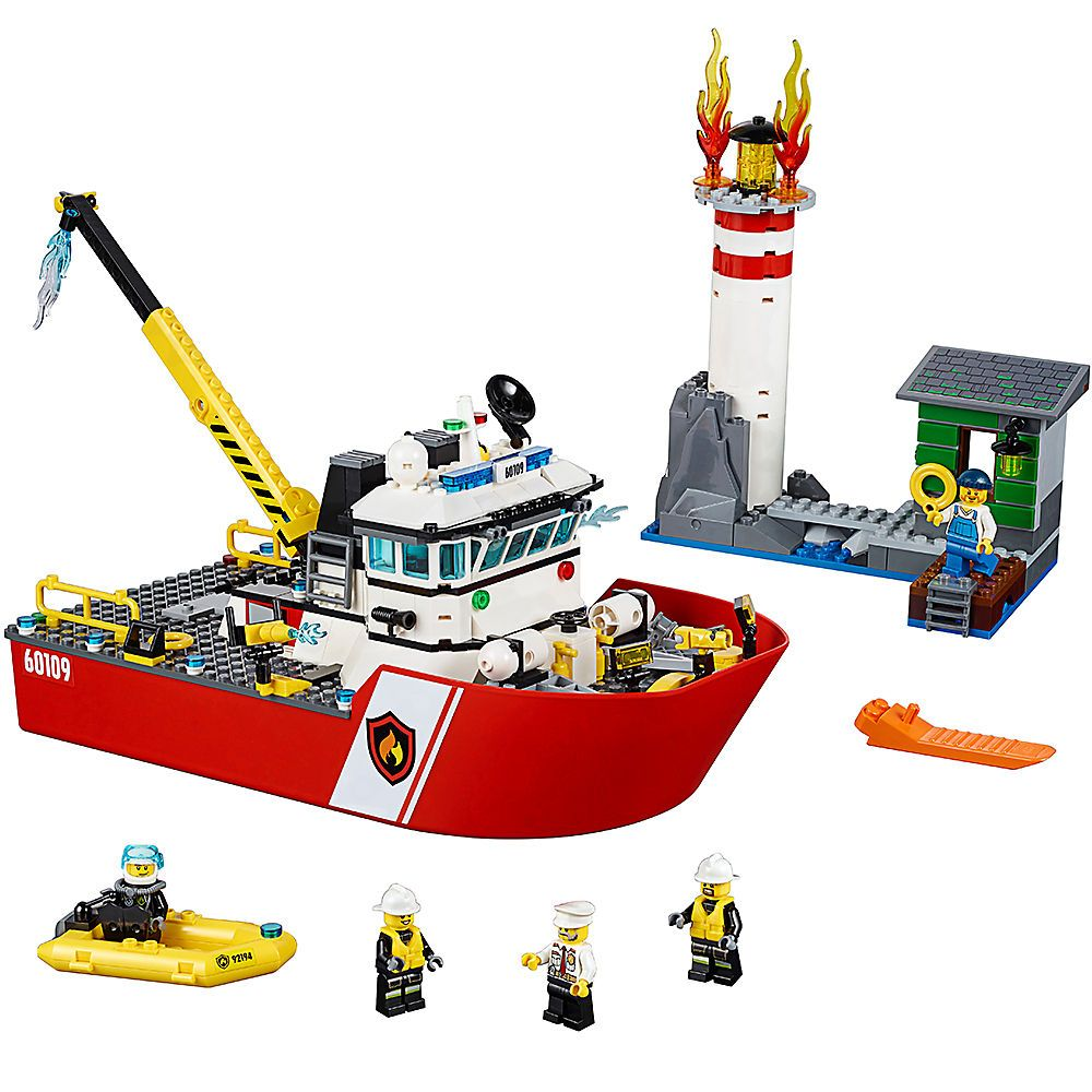 Fire Boat Compatible Legoe City Fire 60109 Building Blocks Bricks Model toys for Childrens kid gift 461Pcs