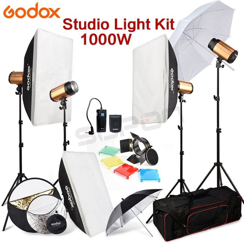 Godox 250SDI 4 x 250W Studio Flash Light stand with Carry Bag Soft Box 1000Ws Light Stand kit 110V-240V